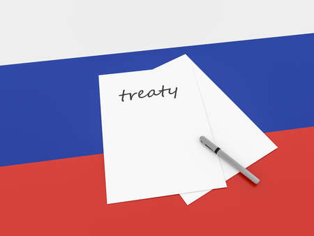 treaty: Russian Politics: Treaty Note On Russia Flag, 3d illustration