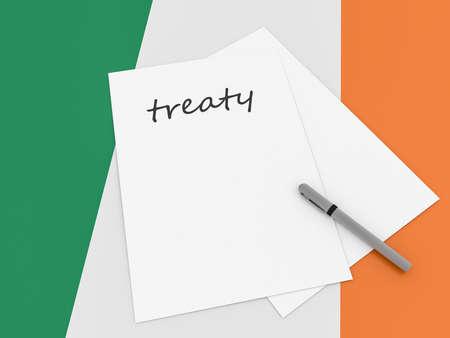 treaty: Irish Politics: Treaty Note On Ireland Flag, 3d illustration