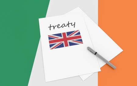 treaty: Irish Politics: UK Treaty Note On Ireland Flag, 3d illustration