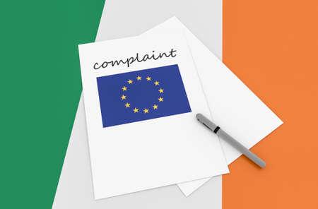complaint: Irish Politics: EU Complaint On Ireland Flag, 3d illustration
