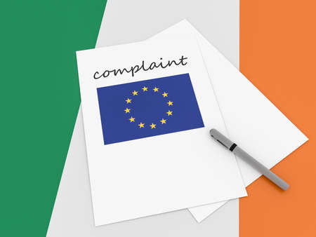 trade union: Irish Politics: EU Complaint On Ireland Flag, 3d illustration
