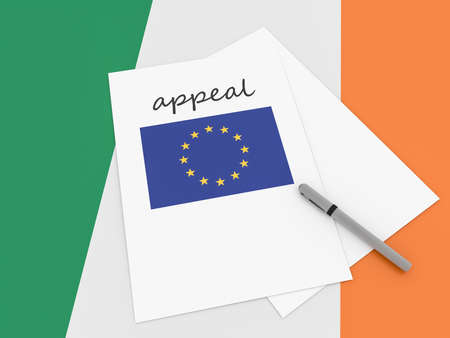 Irish Politics: EU Appeal On Ireland Flag, 3d illustration Stock Photo