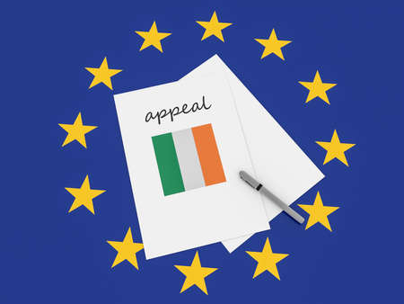 European Politics: Ireland Appeal Note On EU Flag, 3d illustration Stock Photo