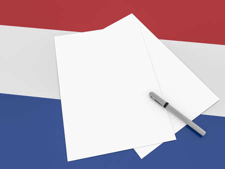 dutch flag: Notes On Netherlands: Blank Sheets of Paper With A Pen On Dutch Flag, 3d illustration