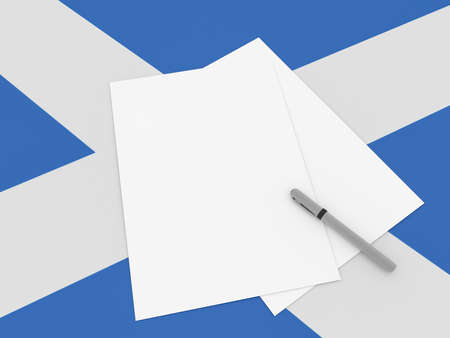 scottish flag: Notes On Scotland: Blank Sheets of Paper With A Pen On Scottish Flag, 3d illustration Archivio Fotografico