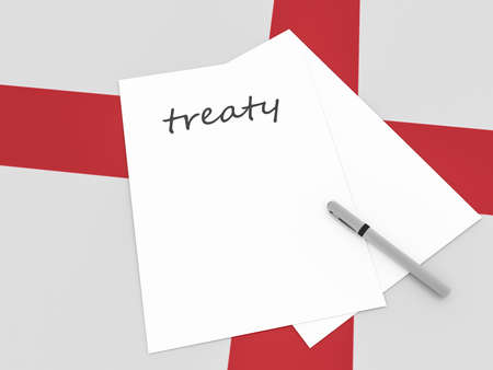 treaty: English Politics: Treaty Note With Pen On England Flag, 3d illustration