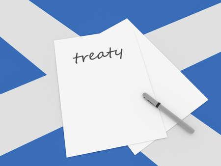 treaty: Scottish Politics: Treaty Note With Pen On Scotland Flag, 3d illustration