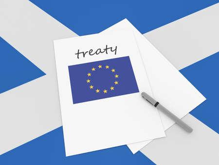 treaty: Scottish Politics: EU Treaty Note With Pen On Scotland Flag, 3d illustration Stock Photo