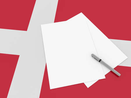 danish flag: Notes On Denmark: Blank Sheets of Paper With A Pen On Danish Flag, 3d illustration Stock Photo