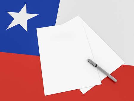 bandera chilena: Notas En Chile: Hojas de papel en blanco con una pluma en la bandera chilena, ilustración 3d Foto de archivo