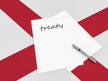 treaty: Treaty Note With Pen On Alabama Flag, 3d illustration