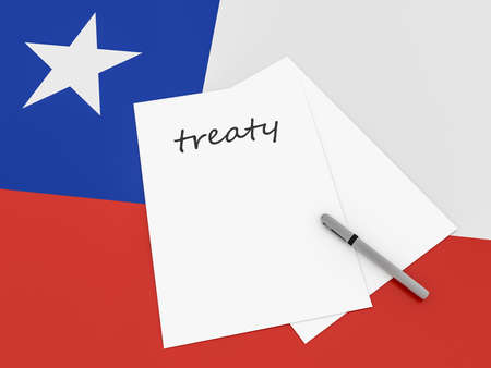 treaty: Chilean Politics: Treaty Note With Pen On Chile Flag, 3d illustration Stock Photo