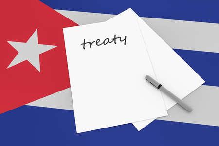 treaty: Cuban Politics: Treaty Note With Pen On Cuba Flag, 3d illustration