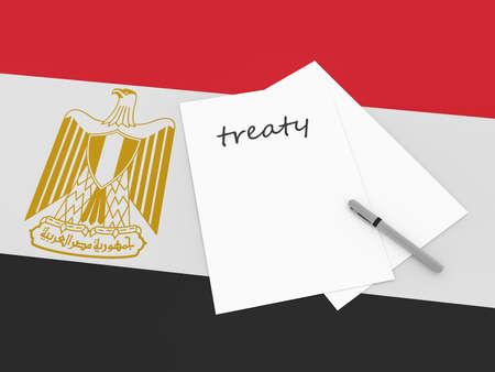 treaty: Egyptian Politics: Treaty Note With Pen On Egypt Flag, 3d illustration Stock Photo