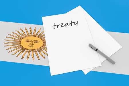 treaty: Argentine Politics: Treaty Note With Pen On Argentina Flag, 3d illustration