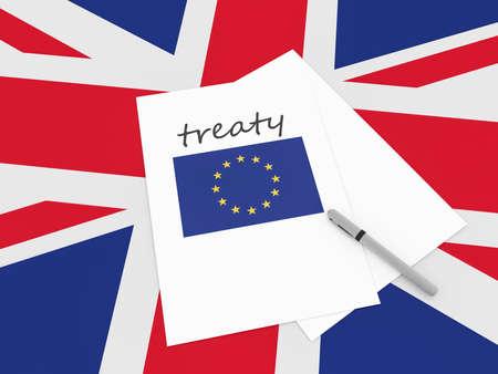 treaty: British Politics: EU Treaty Note On UK Union Jack Flag, 3d illustration