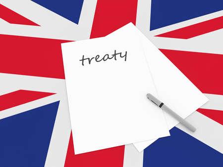 treaty: UK Politics: Treaty Note With Pen On British Union Jack Flag, 3d illustration Stock Photo
