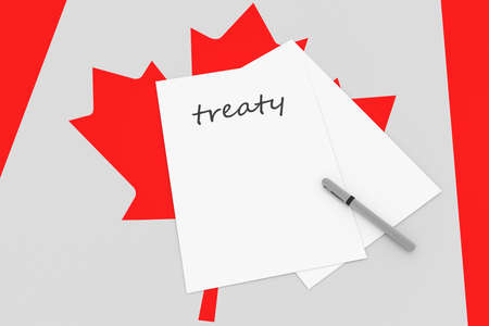 canadian flag: Canadian Politics: Treaty Note With Pen On Canada Flag, 3d illustration