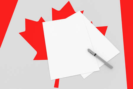 Notes On Canada: Blank Sheets of Paper On Canadian Flag, 3d illustration