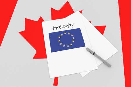 treaty: Canadian Politics: EU Treaty Note With Pen On Canada Flag, 3d illustration