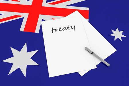 Política australiana: Tratado de nota con la pluma en la bandera de Australia, ilustración 3d Foto de archivo