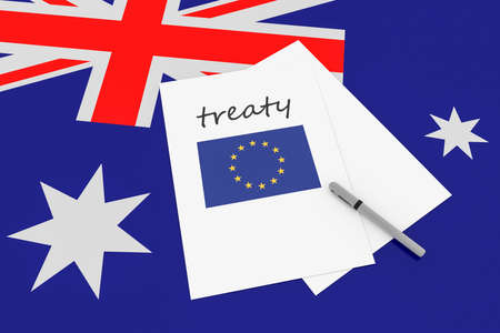 treaty: Australian Politics: EU Treaty Note With Pen On Australia Flag, 3d illustration