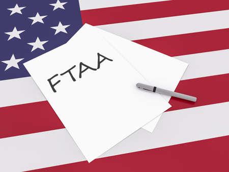 treaty: Free Trade Treaty: Note FTAA With Pen On US Flag Stars And Stripes, 3d illustration Stock Photo