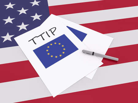 treaty: International Free Trade Treaty Between USA And EU: Note TTIP With Pen On US Flag Stars And Stripes, 3d illustration Stock Photo