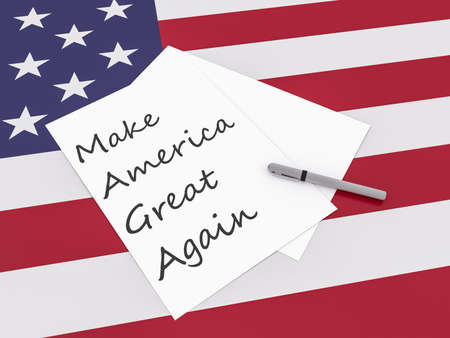 presidential: Note Make America Great Again With Pen On US Flag Stars And Stripes, 3d illustration