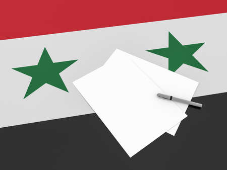 syrian: Notes On Syria: Blank Sheets of Paper With A Pen On Syrian Flag, 3d illustration Stock Photo