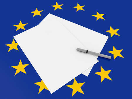 Blank Sheets of Paper With Pen On EU Flag, 3d illustration Stock Photo