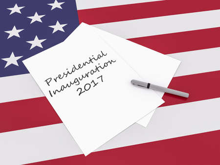 Note Presidential Inauguration 2017 With Pen On US Flag Stars And Stripes, 3d illustration Reklamní fotografie