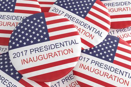 inauguration: Pile Of US Flag Presidential Inauguration 2017 Badges, 3d illustration