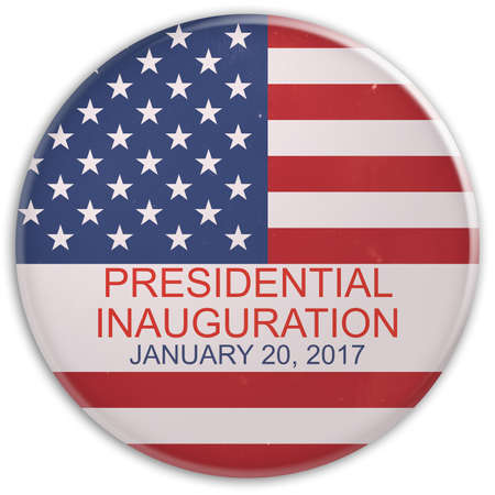 Scratched US Flag Presidential Inauguration Day 2017 Badge, 3d illustration