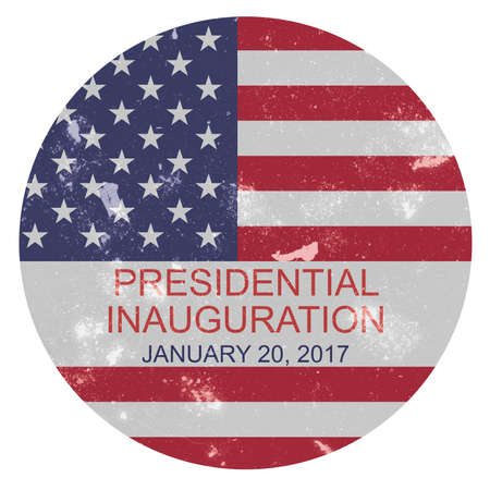 presidential: Dirty Scratched Vintage US Flag Presidential Inauguration 2017 Badge, illustration