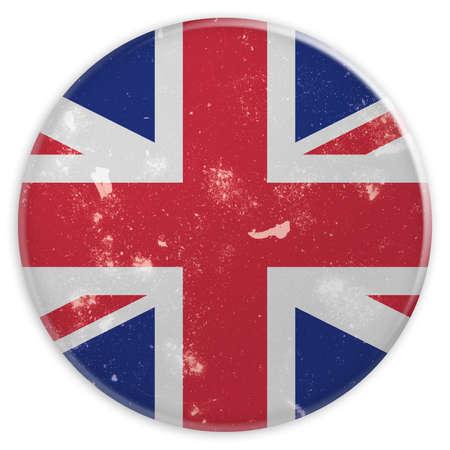grunge union jack: Vintage Grunge Button UK Union Jack Flag, 3d illustration on white background Stock Photo