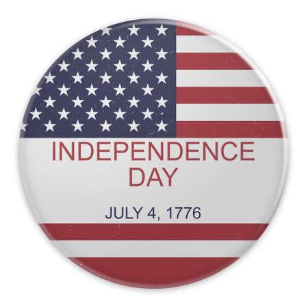 july 4: Dirty Vintage Fourth of July Badge: Independence Day July 4, 1776 On US Flag, 3d illustration