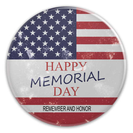 Dirty Vintage Happy Memorial Day Badge On US Flag, 3d illustration