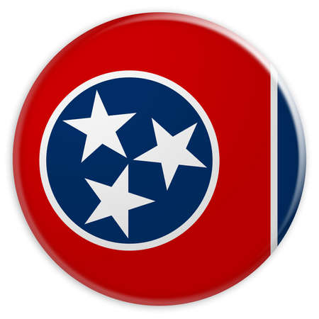 US State Button: Tennessee Flag Badge, 3d illustration on white background