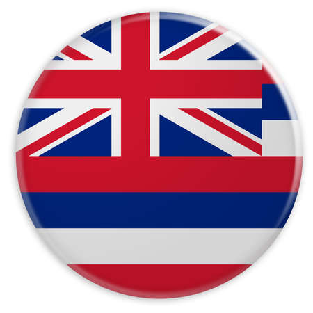 US State Button: Hawaii Flag Badge, 3d illustration on white background