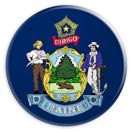 US State Button: Maine Flag Badge, 3d illustration on white background