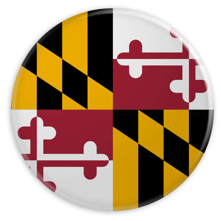 maryland flag: US State Button: Maryland Flag Badge, 3d illustration on white background Stock Photo