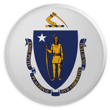 US State Button: Massachusetts Flag Badge, 3d illustration on white background