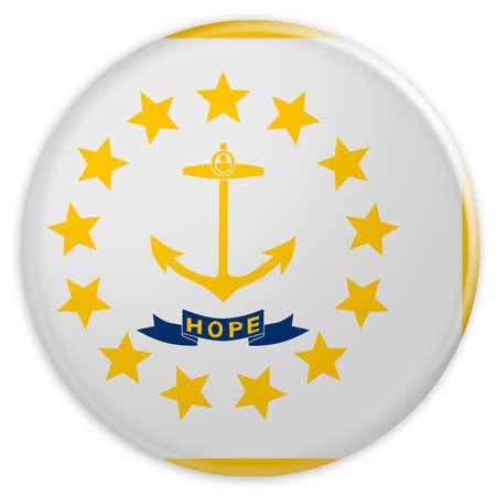 US State Button: Rhode Iceland Flag Badge, 3d illustration on white background