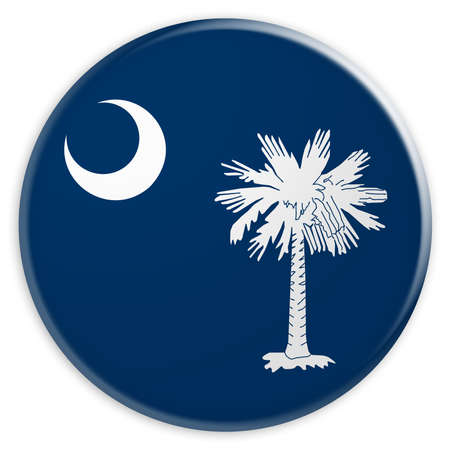 US State Button: South Carolina Flag Badge, 3d illustration on white background Stock Photo