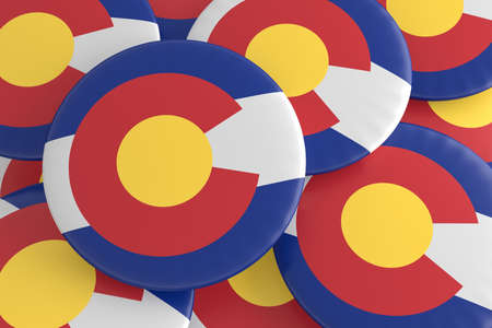 flag of colorado: US State Buttons: Pile of Colorado Flag Badges, 3d illustration Stock Photo