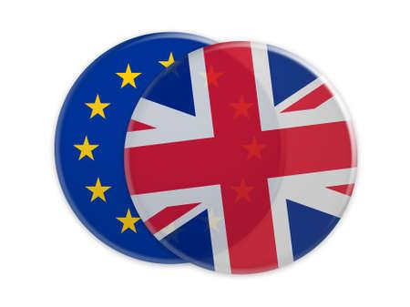 Politics Concept: Transparent UK Flag Button On EU Flag Button, 3d illustration on white background