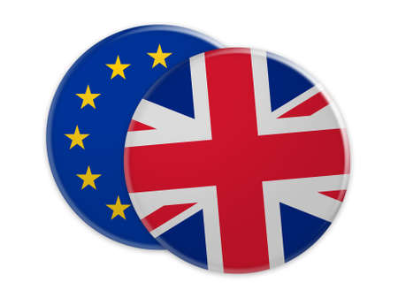 Politics Concept: UK Flag Button On EU Flag Button, 3d illustration on white background