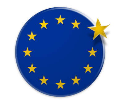 Politics EU Exit Concept: European Union Flag Button With One Star Floating, 3d illustration