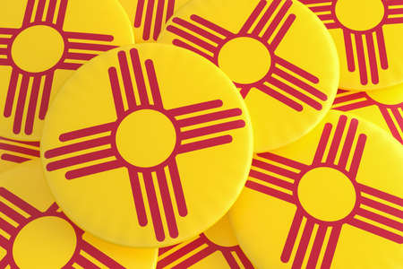 US State Buttons: Pile of New Mexico Flag Badges, 3d illustration Stock Photo